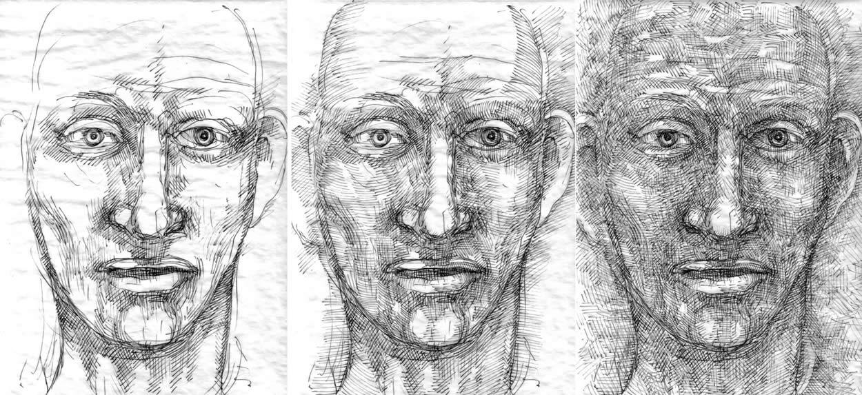 3 stages in the process of drawing a head by William T. Ayton