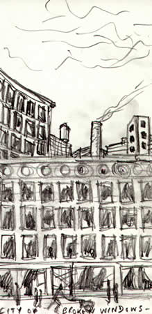 City Of Broken Windows -- pencil sketch