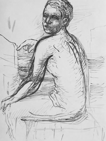 Sketch of a Seated Figure by William T. Ayton
