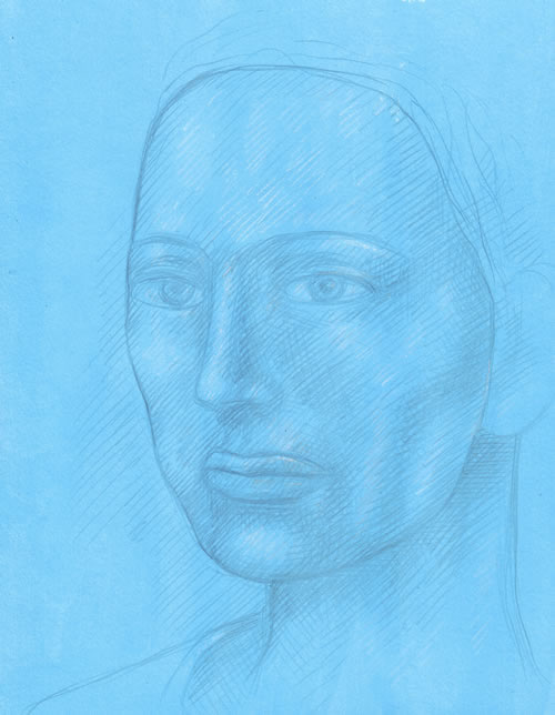 Woman's Head on Blue Ground silverpoint by William T. Ayton