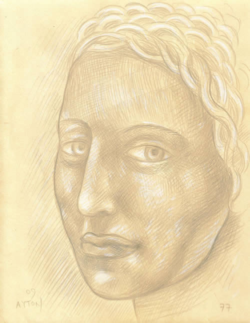 Woman with Braided Hair silverpoint by William T. Ayton