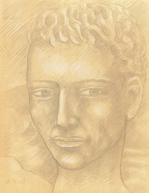 Young Man on Ochre Ground silverpoint by William T. Ayton